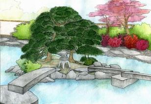 Стилизация японского пейзажа в